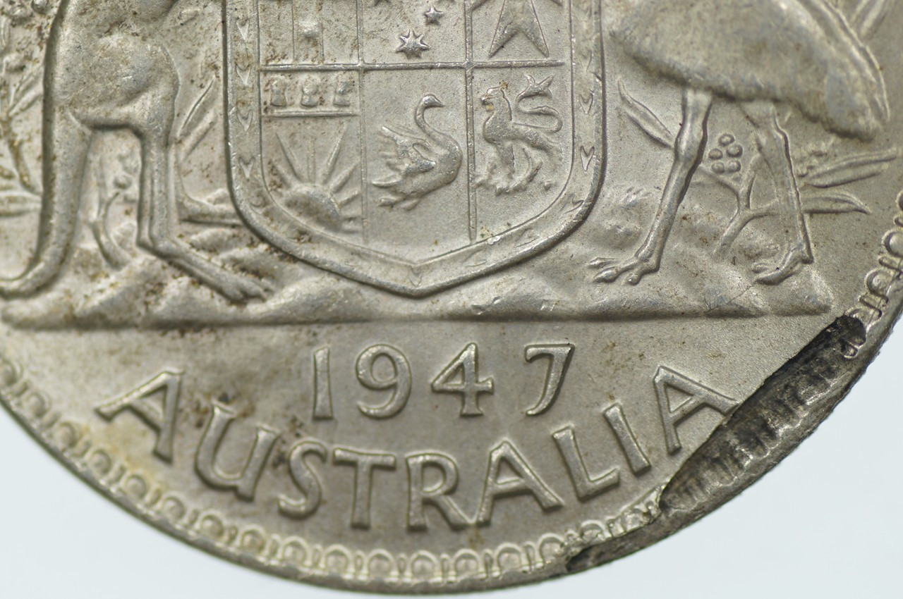 1947 Florin Metal Peel Variety in Extremely Fine Condition Reverse Close Up