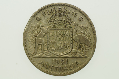 1951 Florin Variety Error Clipped Edge George VI in Fine Condition Reverse