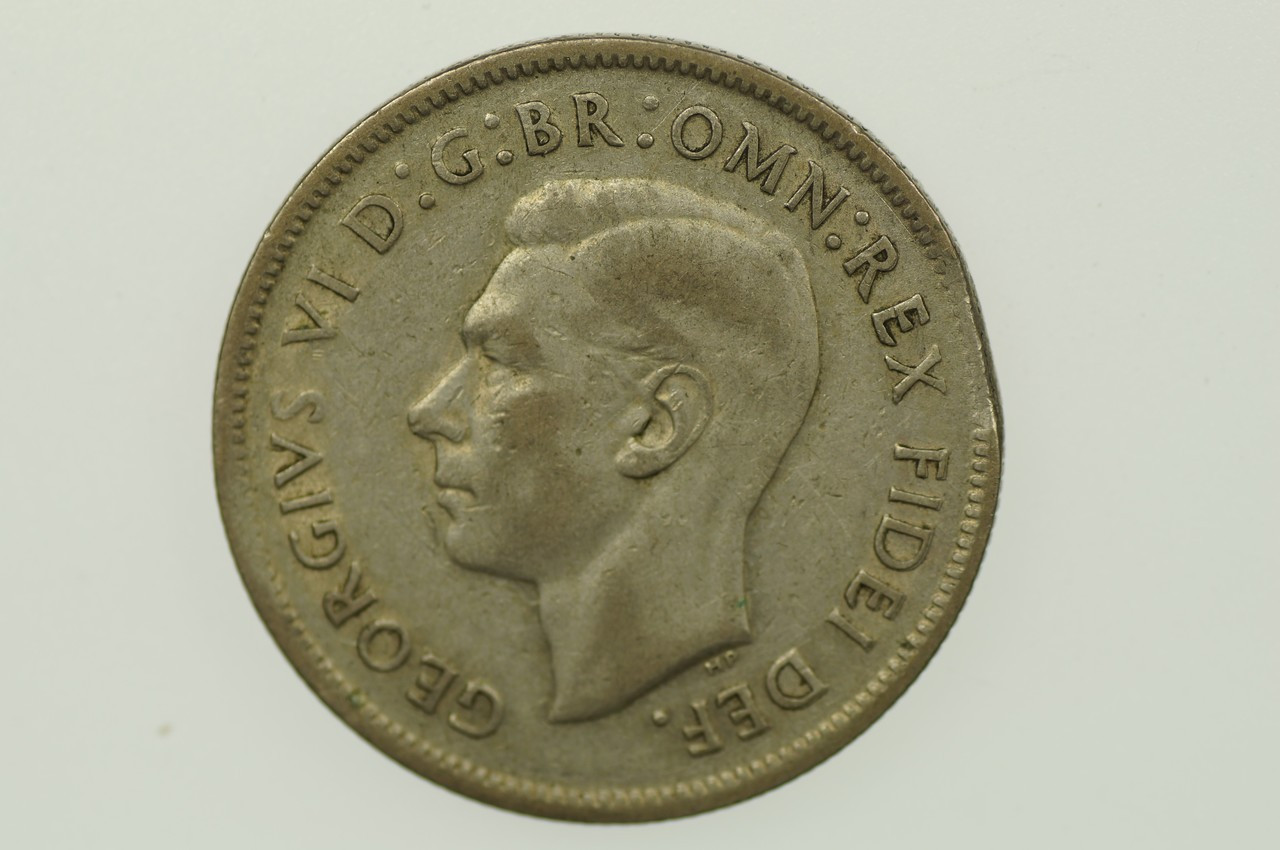 1951 Florin Variety Error Clipped Edge George VI in Fine Condition  Obverse