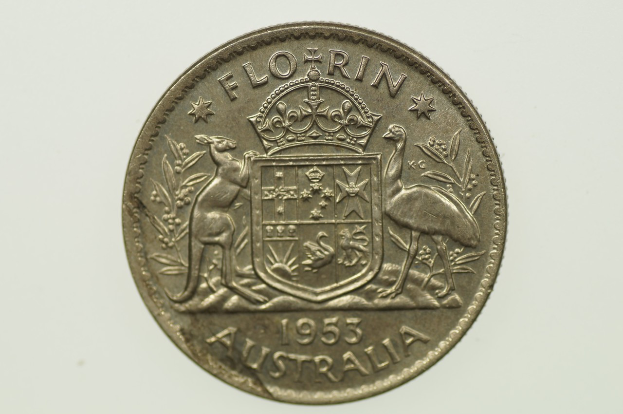 1953 Florin Variety Metal Flaw in Extremely Fine Condition Reverse
