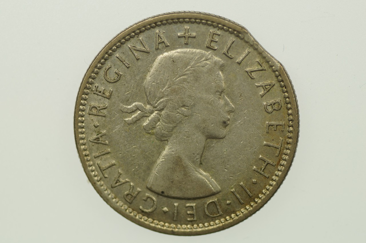 1954 Florin Variety Error Bitten Edge in Very Fine Condition Obverse