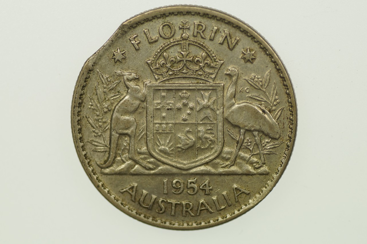 1954 Florin Variety Error Bitten Edge in Very Fine Condition Reverse