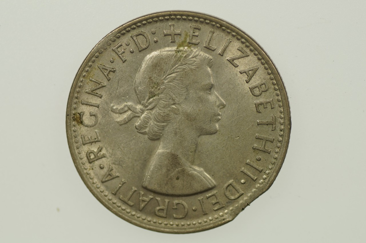 1957 Florin Variety Error Bitten Edge in Very Fine Condition Obverse