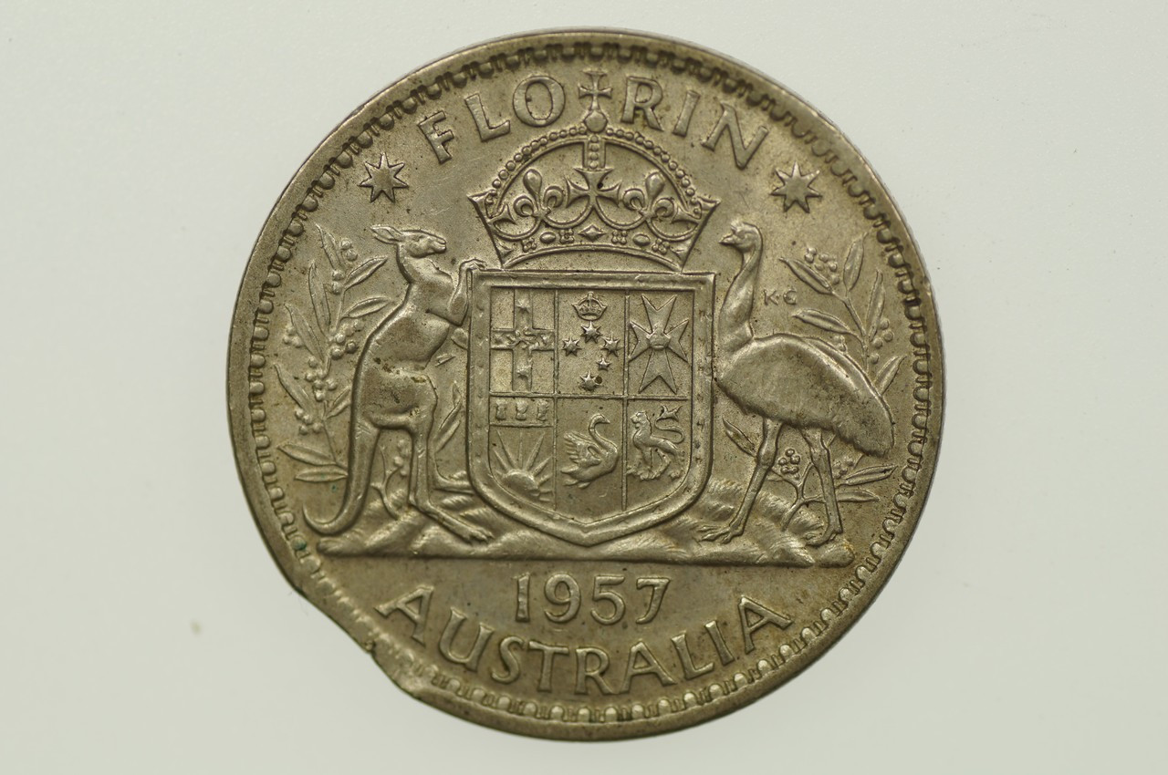 1957 Florin Variety Error Bitten Edge in Very Fine Condition Reverse