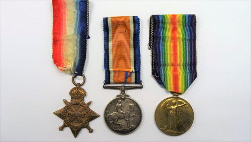 1914-15 Star, British War Medal 1914-18 and Victory Medal 1914-19