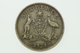 1924 Sixpence Variety Multiple Die Cracks in Very Fine Condition