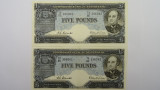 1954 Five Pounds Coombs / Wilson Consecutive Pair of Banknotes in Unc