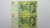 1972 Two Dollars Phillips / Wheeler Consecutive Pair of Banknotes