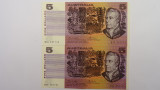1976 Five Dollars Knight / Wheeler Consecutive Pair of Banknotes
