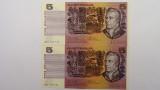 1976 Five Dollars Knight / Wheeler Consecutive Pair of Banknotes