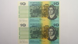 1985 Ten Dollars Johnston / Fraser Consecutive Pair of Banknotes