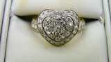 14ct Yellow Gold 53 Diamond Cluster Love Heart Engagement Ring