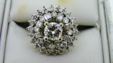14ct White Gold 39 Diamond Daisy Cluster Engagement Ring