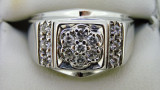 14ct White Gold 13 Diamond Cluster Band 10.8 Grams