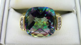 10ct Yellow Gold Green Purple Topaz and 8 Diamond Ring