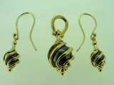 9ct Yellow Gold Yellow Black Pearl Pendant and Matching Earrings