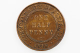1918 Half Penny Variety Die Crack Low Mint in Very Fine Condition