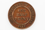 1922 Half Penny Variety Blob Over Second N in Almost Very Fine Condition