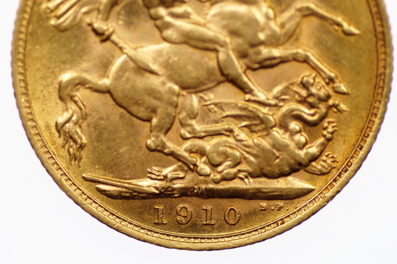 1910 Melbourne Mint Gold Full Sovereign in Extremely Fine Condition Reverse Close Up