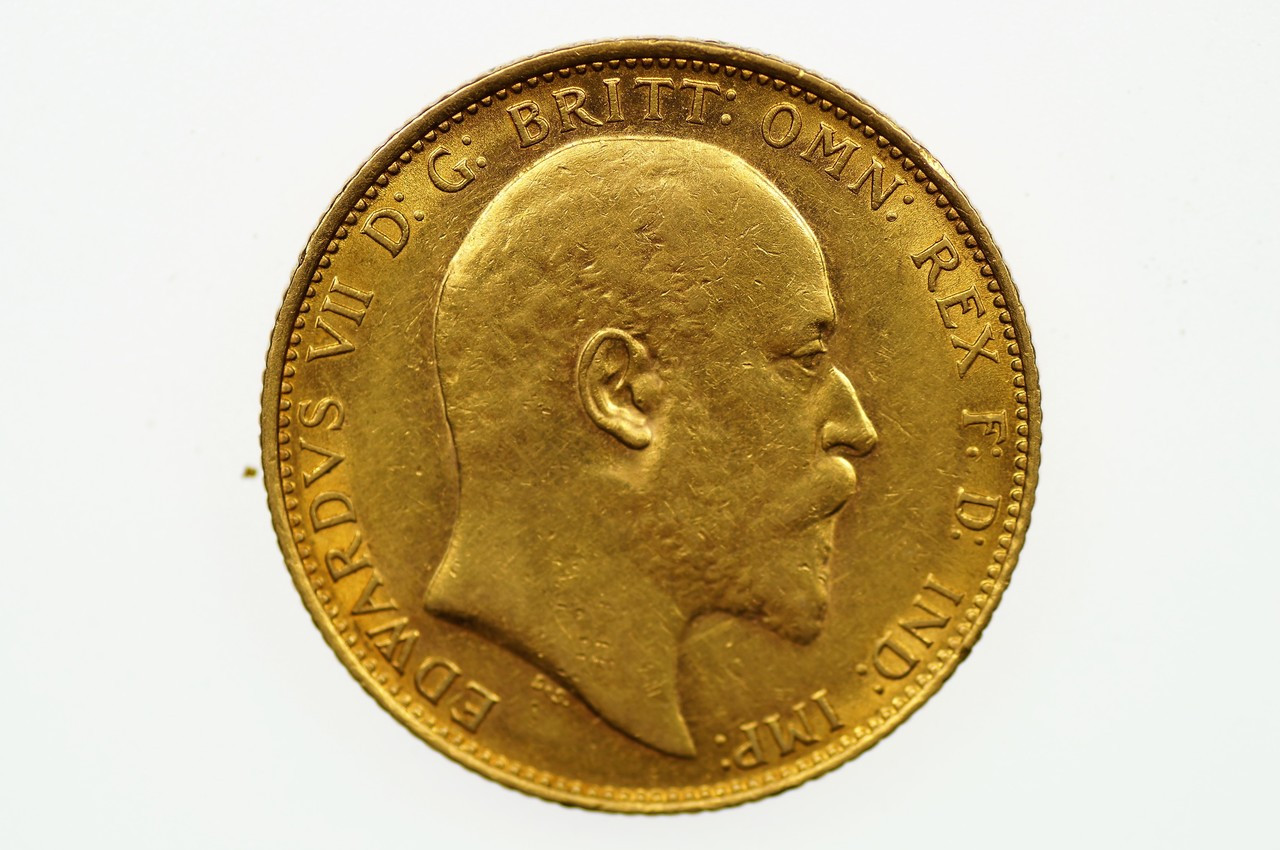 1910 Melbourne Mint Gold Full Sovereign in Extremely Fine Condition Obverse