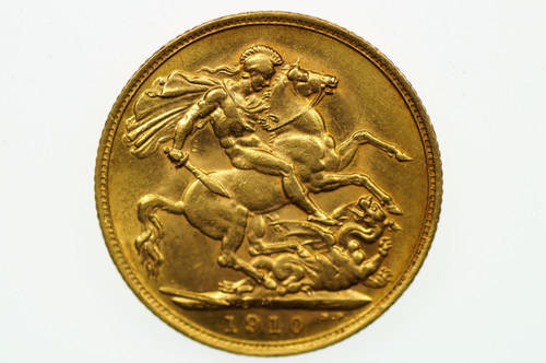 1910 Melbourne Mint Gold Full Sovereign in Extremely Fine Condition Reverse