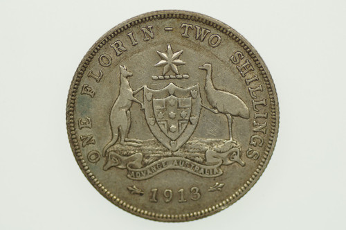 1913 Florin George V in Almost Very Fine Condition Reverse