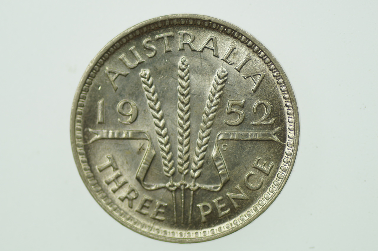 1952 Threepence in Almost Uncirculated Condition Reverse