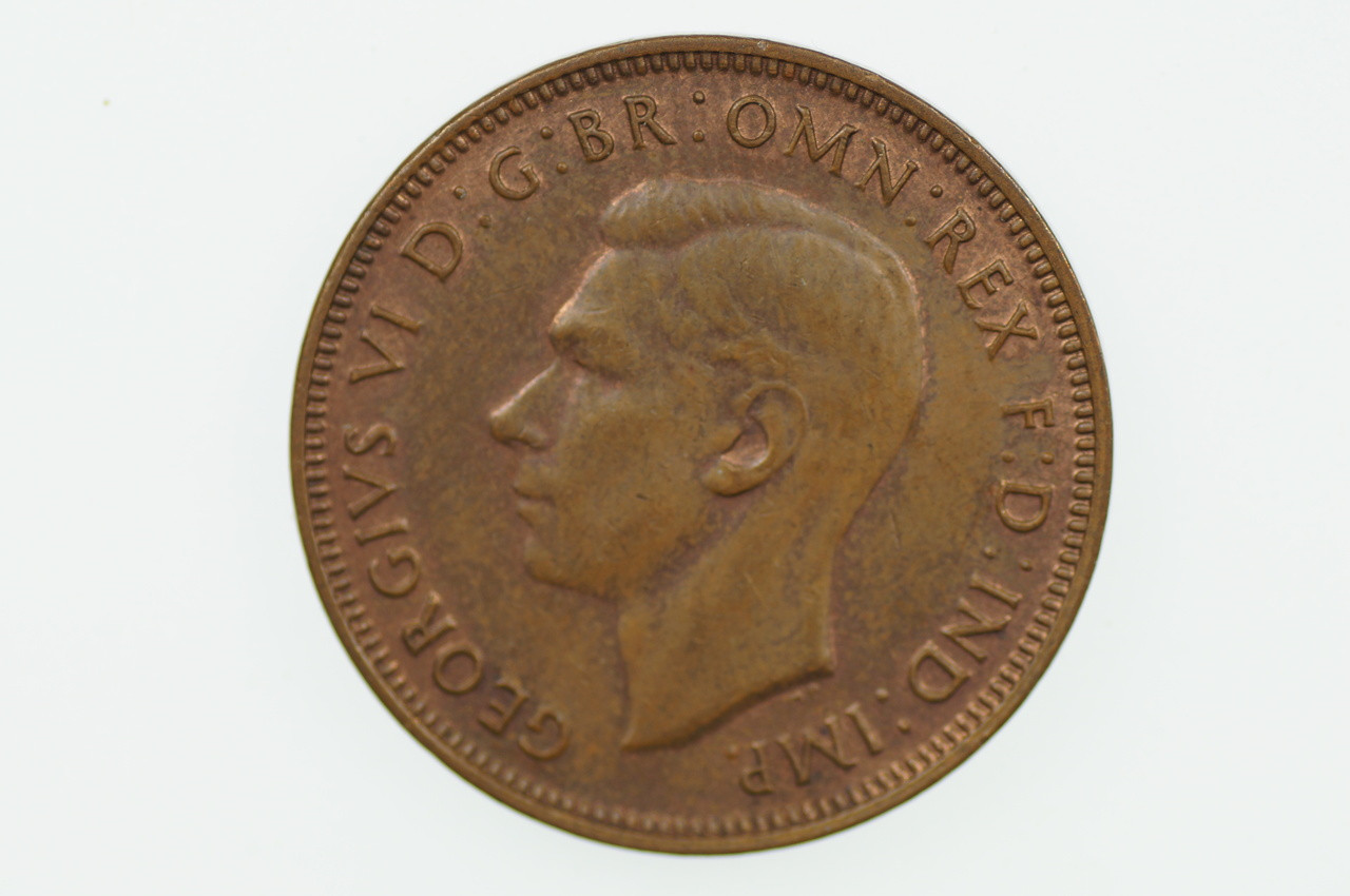 1944 Half Penny in Almost Uncirculated Condition Obverse