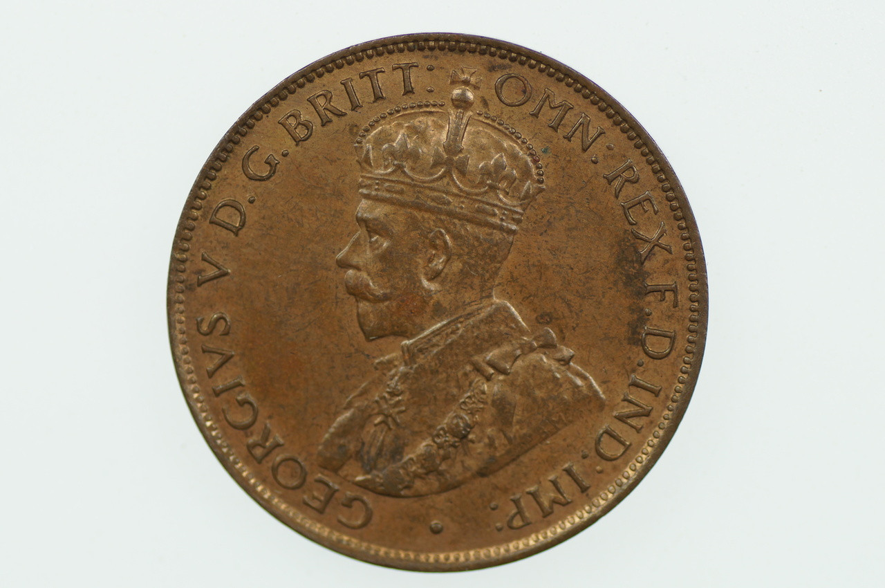 1934 Half Penny George V in Uncirculated Condition Obverse
