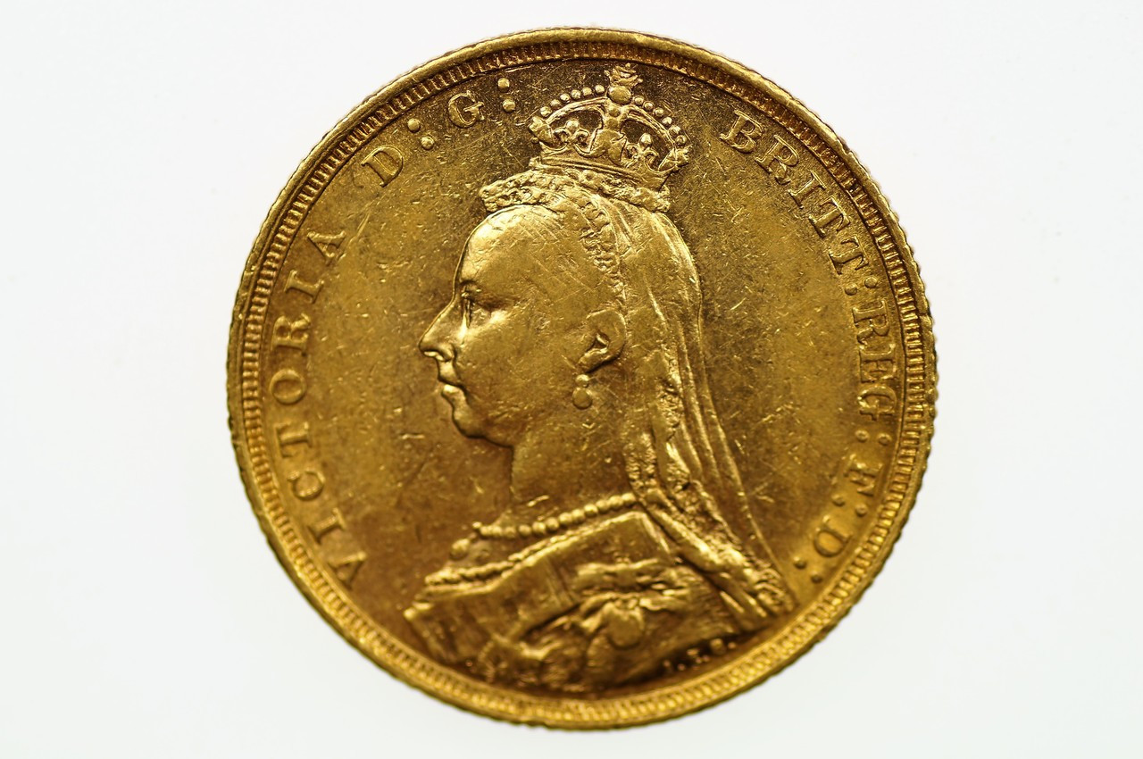 1891 Sydney Mint Gold Full Sovereign in Very Fine Condition Obverse