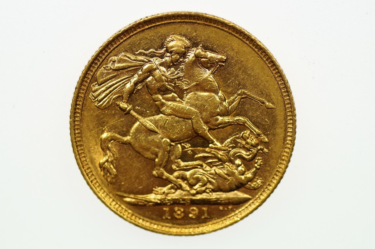 1891 Sydney Mint Gold Full Sovereign in Very Fine Condition Reverse