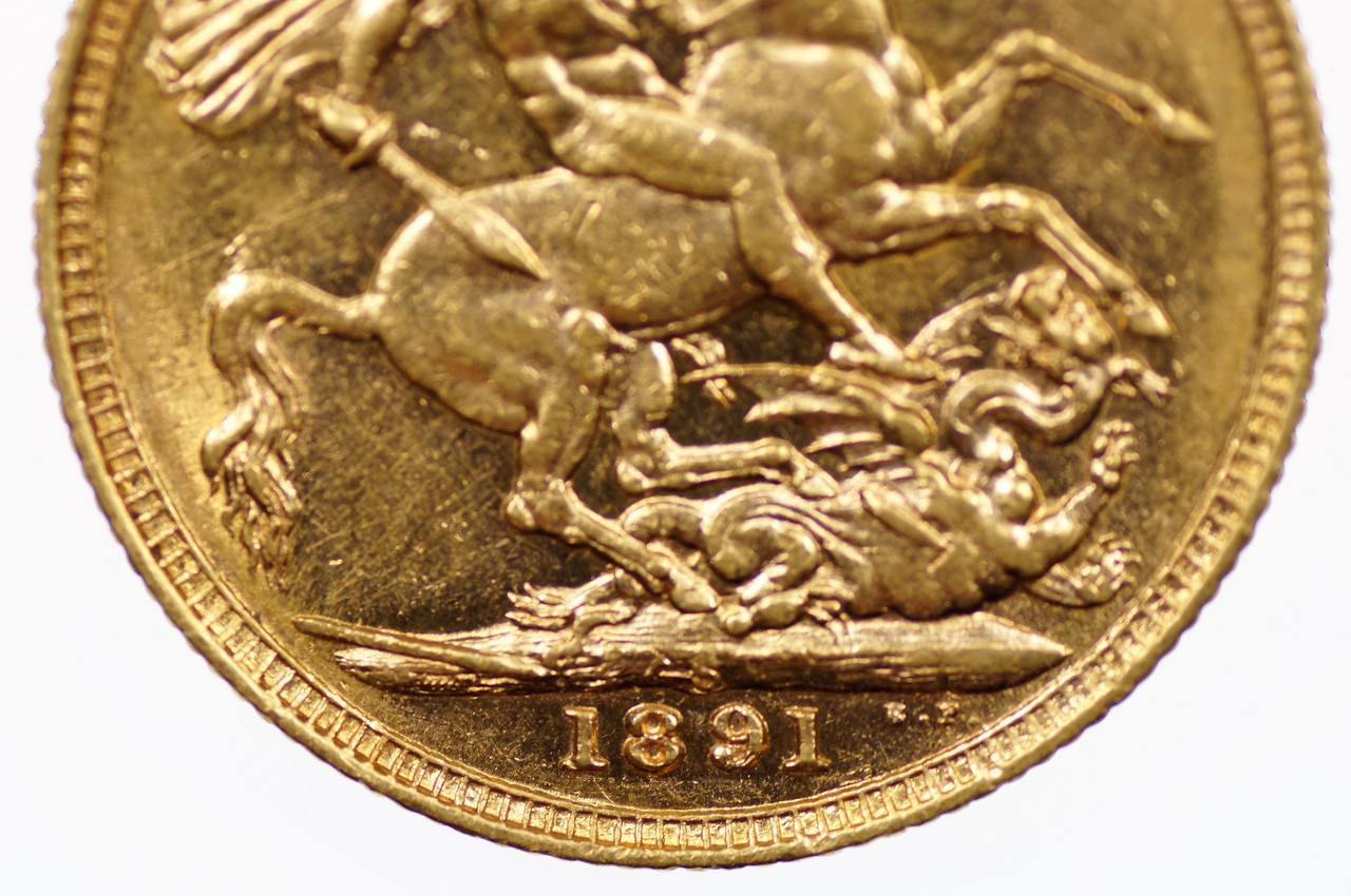1891 Sydney Mint Gold Full Sovereign in Very Fine Condition Reverse Close Up