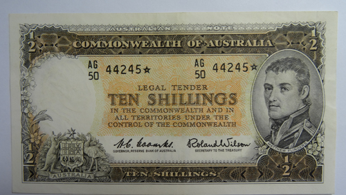 1961 Ten Shillings Star Replacement Coombs / Wilson Banknote