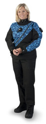 DUI FLX Extreme Drysuit - Shown in Navy w/Aqua Waves