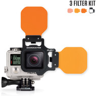 Backscatter FLIP4 Three Filter Kit with SHALLOW, DIVE & DEEP Filters Underwater Color Correction System for GoPro 3, 3+, 4