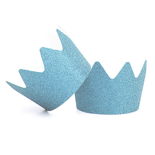 Blue Glitter Party Crowns for childrens birthday parties