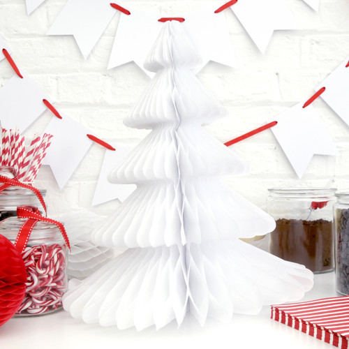 Modern and alternative white Honeycomb Christmas Tree decoration for table centrepieces or party decor