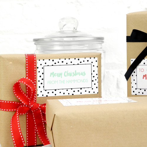 Modern black and white polka dot personalised Christmas gift stickers