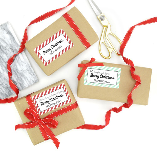 Stylish striped personalised Christmas gift stickers