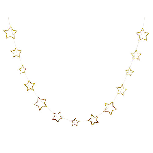 Gold Glitter Star Garland for Birthday Parties, Hen Dos, Christmas and New Years Eve