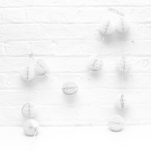 Mini White Honeycomb Ball Garland Decoration for Birthday Parties, Hen Dos, Baby Showers and Photo Booth Backdrops.