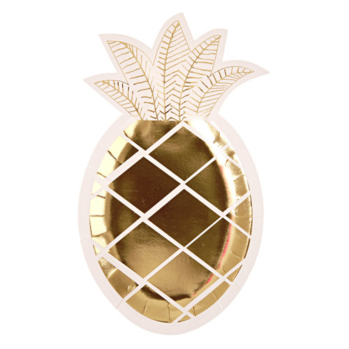Shiny gold pineapple party plates