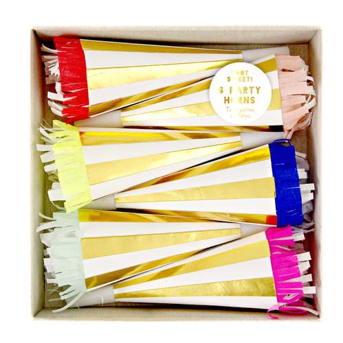 Gold Foil Party Horns