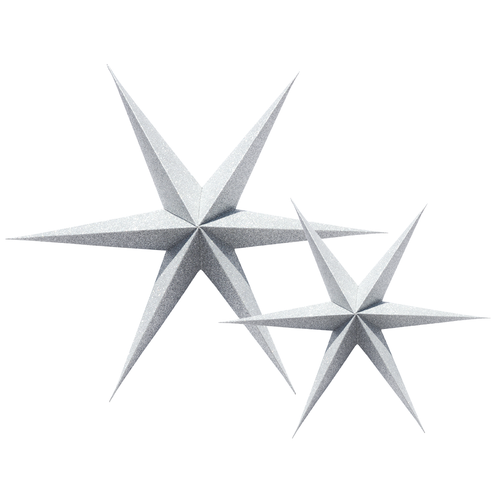 Silver Glitter paper Christmas star decorations