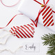 Red and gold stripe metallic Christmas gift tags for presents