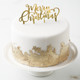 Metallic gold merry Christmas cake topper
