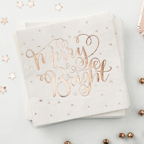 Rose Gold Merry and Bright Christmas paper party napkins
