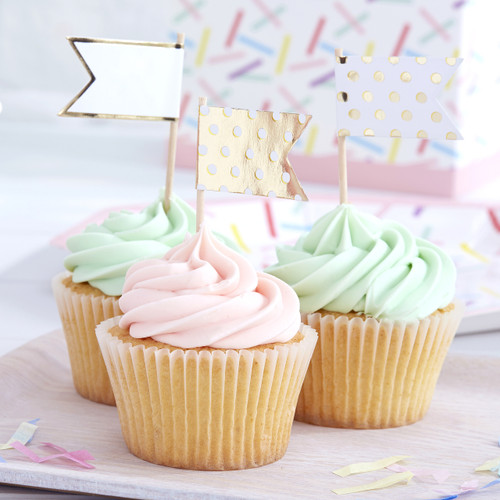 Gold polka dot food flag labels for party food, cupcakes and nibbles