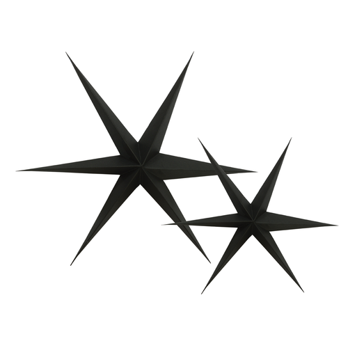 Black paper star decorations for Christmas