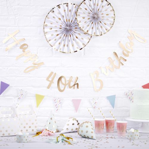 Gold Happy 40th Birthday Script Bunting Decoration
